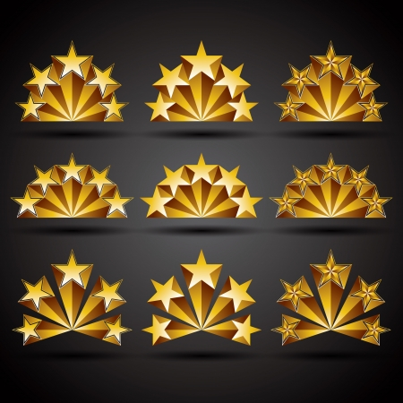 Five stars classic style icons set