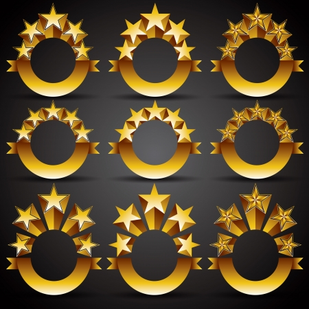 Five stars classic style labels set Stock Vector - 15274621