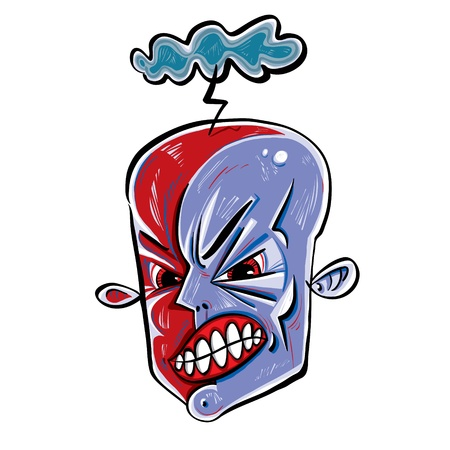 outrage: Angry face icon with storming cloud