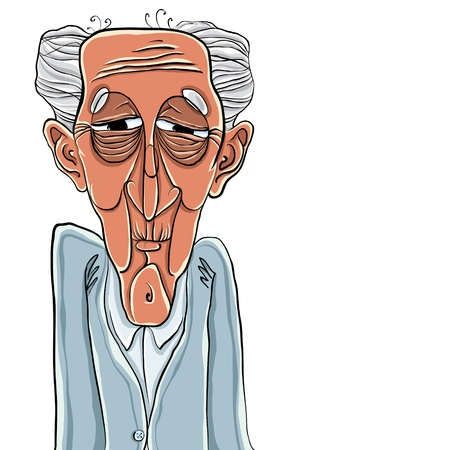 wrinkles: Old man cartoon style illustration