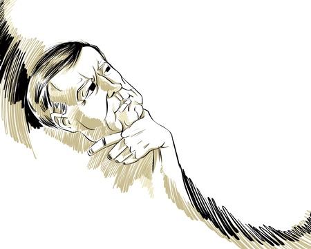 dreamer: Thinking man  illustration  Illustration