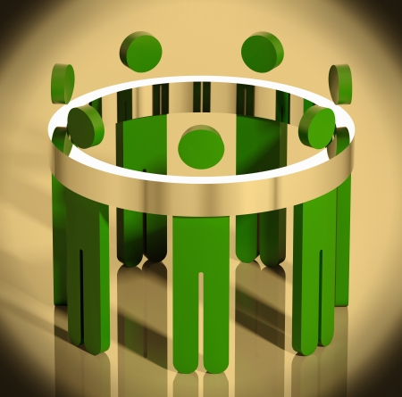 joined hands: Business team allegory illustration.