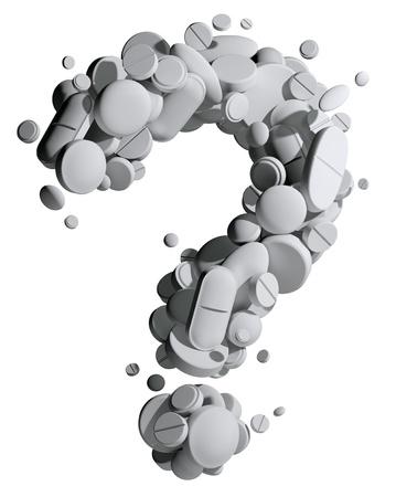 Вопросительный знак создан медицинских таблеток.