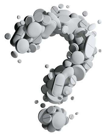 Question mark created of medical pills. Stock Photo