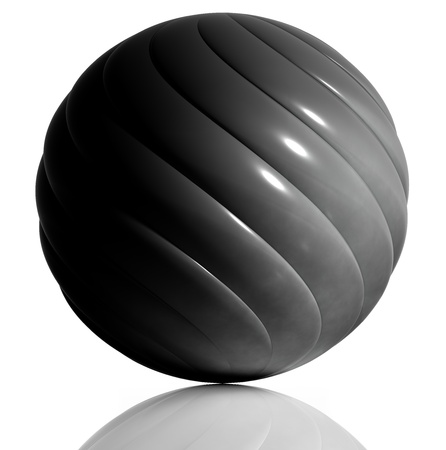 Black sphere created of spiral elements. photo