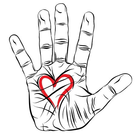 Hand with heart, love symbol Vector