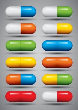 Медицинские таблетки, установленные, разные цвета Иллюстрация