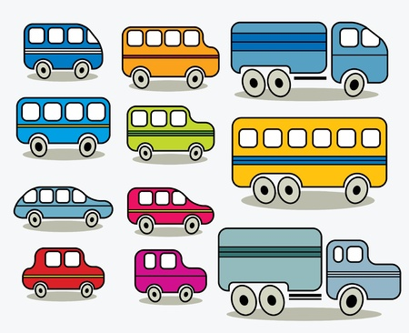 simplistic icon: Set of cars icons