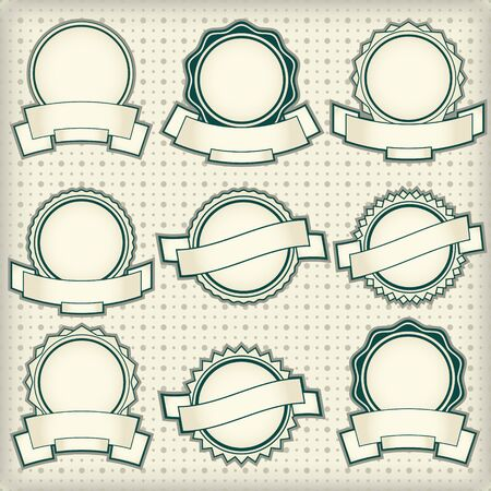 Vintage labels with blank banners  Vector