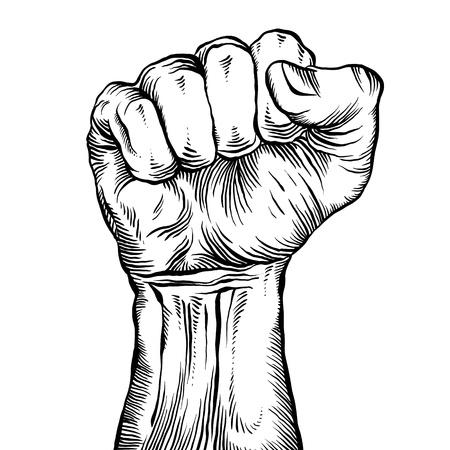 A clenched fist held high in protest