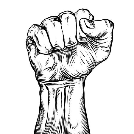 Een gebalde vuist gehouden hoog in protest Vector Illustratie