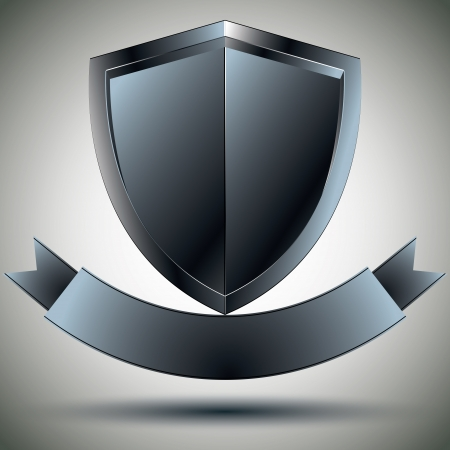 Shield and blank ribbon security symbol. Vector