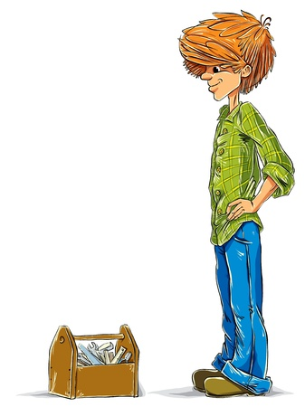Teen boy cartoon with toolbox