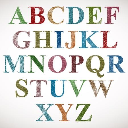 graffiti alphabet: Vintage-Stil Alphabet. Illustration