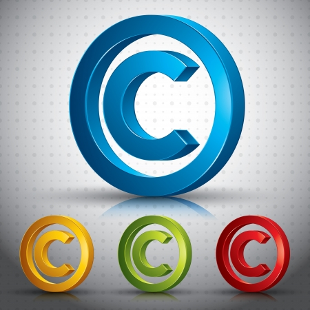 Copyright symbol 3d  sign. Vector