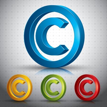 Derechos de autor símbolo 3d signo.