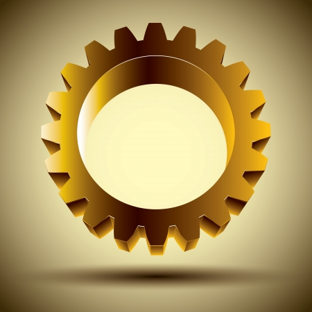 Golden gear icon, 3d  design element. Vector