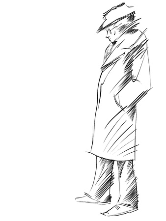 black and white line drawing: Retro dressed man