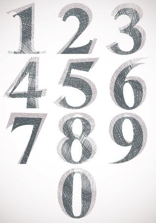 sans serif: Vintage style numbers typeset