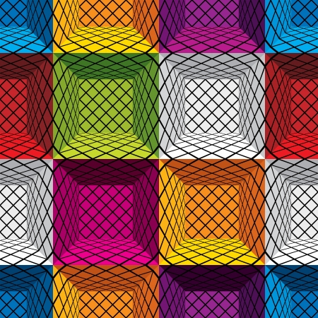 geometric pattern in a square: 3d boxes seamless pattern,  background