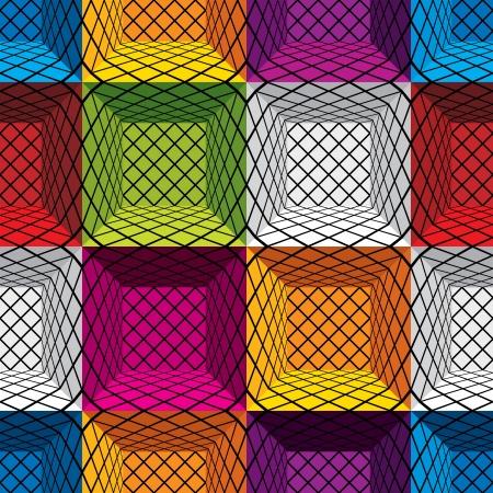 geometria: 3d cajas patr�n sin fisuras de fondo, Vectores