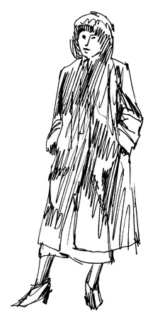 frock coat: Retro dressed woman ink sketch auto trace  Illustration