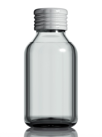 Medical bottle of clear glass  Stock Photo