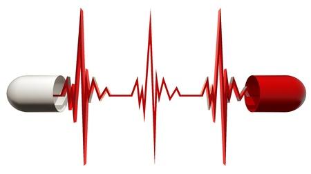 symbole chimique: Capsule m�dicale ouvert avec cardiogramme. Banque d'images