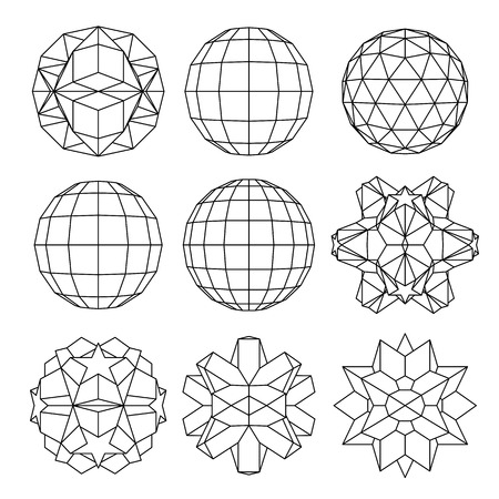 Collection of 9 black and white complex dimensional spheres and abstract geometric figures. Set of fractal 3D monochrome symbolic objects.
