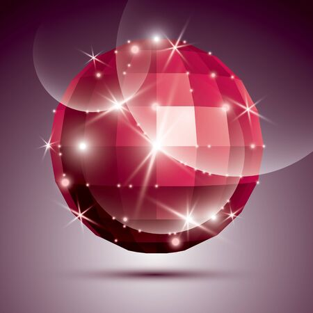 Party dimensional red sparkling disco ball created from geometric figures. Vector festive illustration - glossy gemstone.