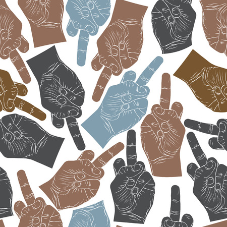obscene gesture: Middle finger hands seamless pattern, vector background for wallpaper, textile or other design.