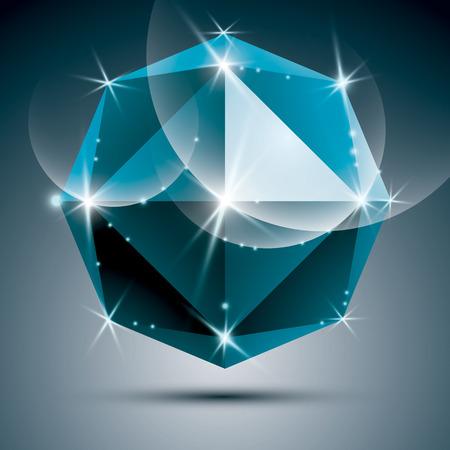 Vector stylish illustration, shiny sapphire effect Party 3D azure sparkling ball. Illustration