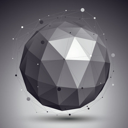Modern digital technology style, abstract unusual background, vector tech complicated 3d sphere placed over contrast backdrop. Illustration