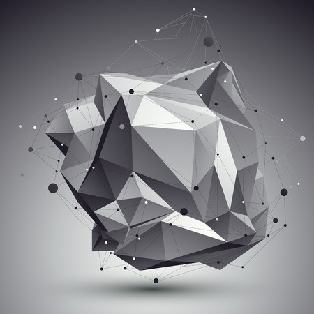 Geometric monochrome polygonal structure with wire mesh, modern science and tech background. Illustration