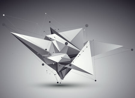 perspective: 3D vector abstract tech illustration, perspective geometric unusual background with wireframe.