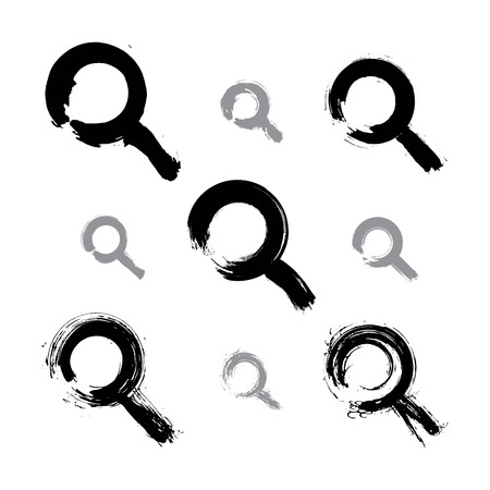 lens brush: Set of hand-painted monochrome magnifying glass icons isolated on white background, collection of simple black loupe symbols created with real ink hand-drawn brush scanned and vectorized.