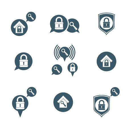 privileges: House security protection vector icons set, home, house, padlock and key, creative and unusual symbols collection.