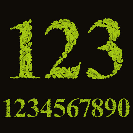 sans serif: Floral numbers made with leaves, natural numerals set, vector design.