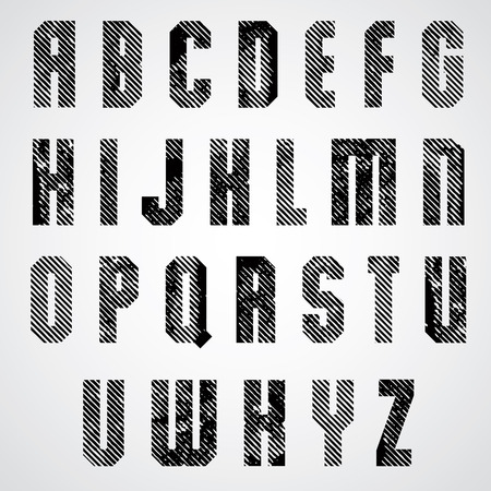 Grunge black rubbed capital letters, decorative striped font on white background. Vector