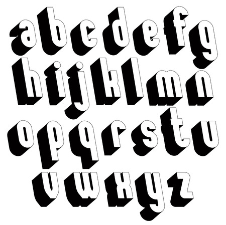 sans serif: Black and white 3d font, single color simple and bold letters alphabet, best for use in web design and advertising, for use in headlines, elegant symbols with good style. Illustration