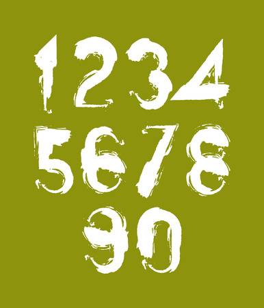 Handwritten white vector numbers, stylish numbers set drawn with ink brush on green background.  Vector
