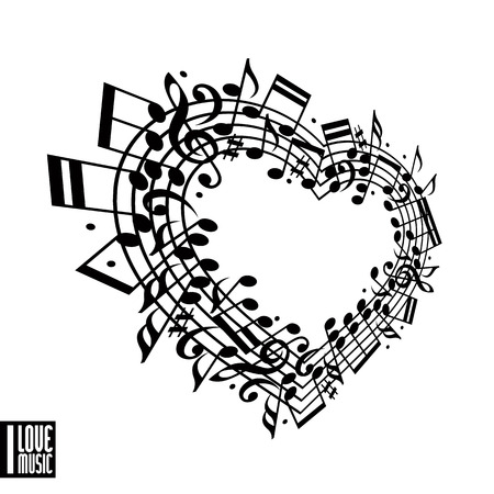 I love music concept. Heart made with musical notes and clef, black and white design, contain copy space inside for your text, music theme vector design template. Vector