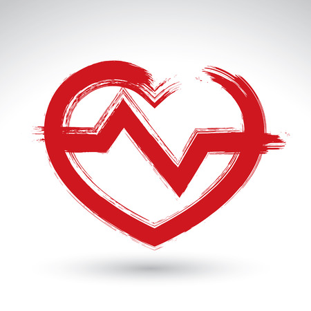 Hand drawn red heart icon, brush drawing heart sign with electrocardiogram, original hand-painted heart symbol with ekg isolated on white background. Vector