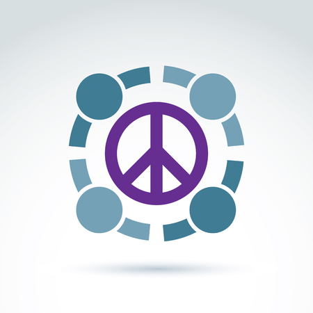 no war: Round antiwar vector icon, no war symbol. People of the world cooperating for peace. Conceptual  global peace sign from 60th.