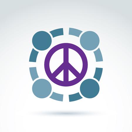 Round Antiwar Vector Icon No War Symbol People Of All