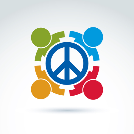 nationalities: Round antiwar vector icon, no war symbol. People of all nationalities of the world cooperating for peace. Conceptual  international peace sign from 60th. Illustration