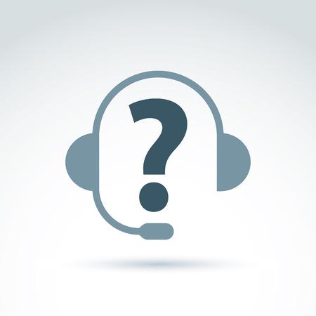 consultation: Silhouette of call center operator in the headphones, consultation symbol, call center icon. Illustration