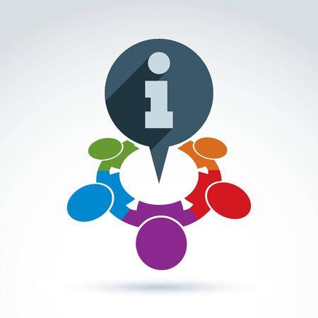 protecting your business: Proteger icono de informaci�n corporativa, equipo de negocios con icono de informaci�n, vector conceptual s�mbolo inusual para su dise�o.