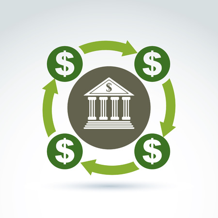 Vector banking symbol, financial system icon. Circulation of money, illustration of money cycle. Banking service concept. Vector