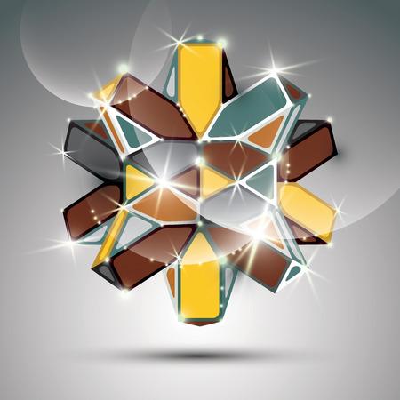facet: 3D metal glossy kaleidoscope complicated object. Vector festive complex geometric illustration -  shiny facet gemstone.  Illustration